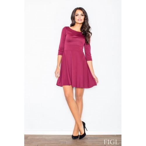 Dámske bordové šaty v A línii s kruhovou sukňou a 3/4 rukávmi M081 XL