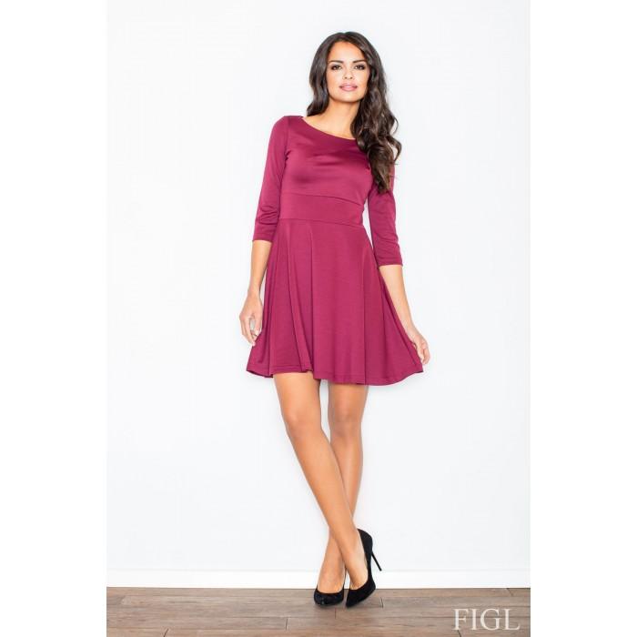 b9057bc82490 Dámske bordové šaty v A línii s kruhovou sukňou a 3 4 rukávmi M081