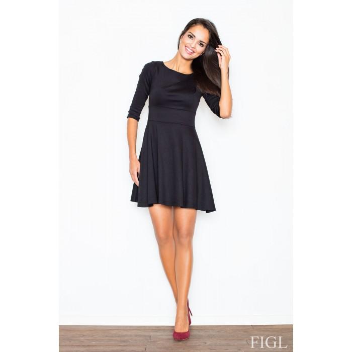 Dámske čierne šaty v A línii s kruhovou sukňou a 3 4 rukávmi M081 6ea46ca38f3