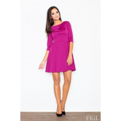 ea80155b4f9b Dámske fuchsiové šaty v A línii s kruhovou sukňou a 3 4 rukávmi M081