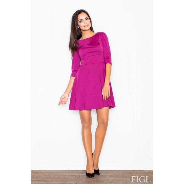 9d05946f3982 Dámske fuchsiové šaty v A línii s kruhovou sukňou a 3 4 rukávmi M081