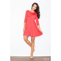 931acc962988 Dámske koralové šaty v A línii s kruhovou sukňou a 3 4 rukávmi M081