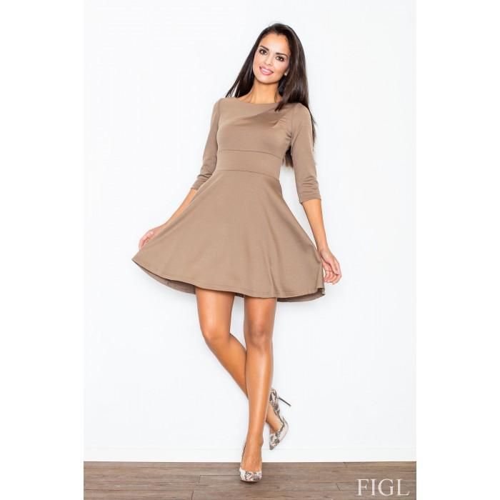 Dámske mokka šaty v A línii s kruhovou sukňou a 3 4 rukávmi M081 b21246710c0