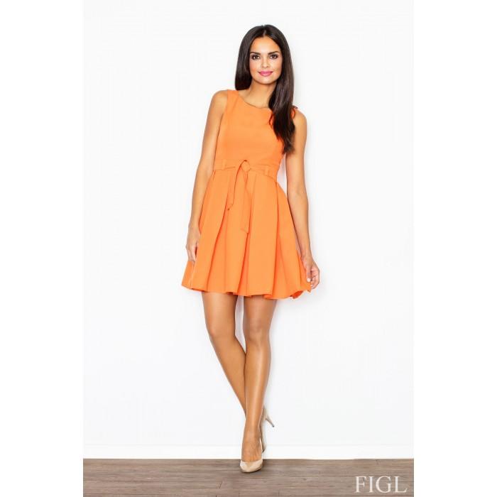 Dámske oranžové šaty Retro so skladanou sukňou a opaskom M083 L 4ba1992003a