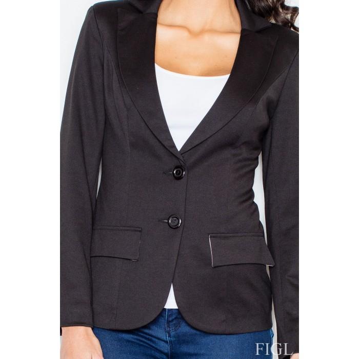 d67d6cba85 Dámske čierne športovo elegantné sako s podšívkou M085