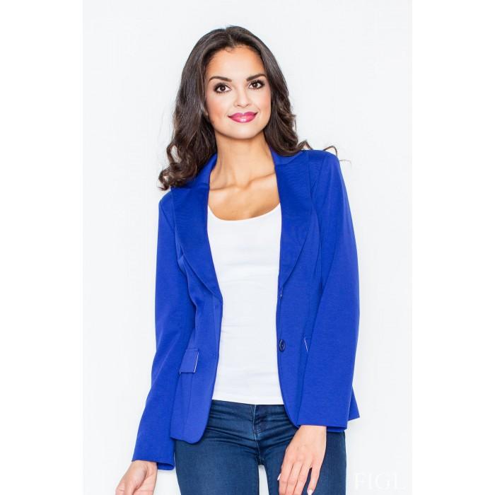 b2c4153a5045 Dámske modré športovo elegantné sako s podšívkou M085
