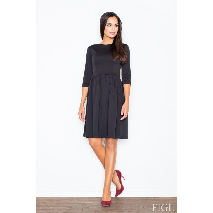 Dámske čierne šaty s naberanou sukňou M117 3f3f4b862bf
