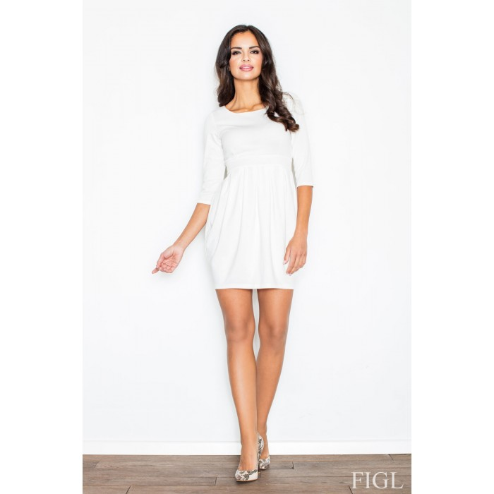 53c7ca44dff2 Dámske biele púzdrové šaty s balonovou sukňou M122