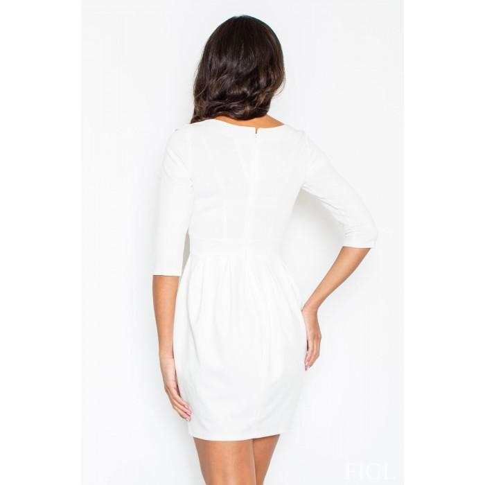 94057a583b4f Dámske biele púzdrové šaty s balonovou sukňou M122