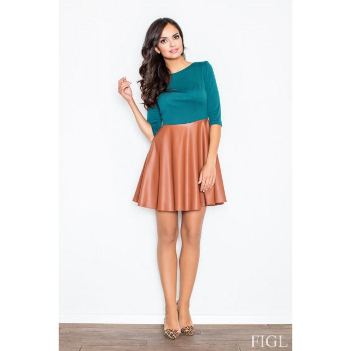 Dámske šaty s koženou sukňou zelena M162 ae73646bd3f