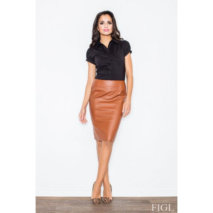 3171f66dfdcc Dámska hnedá púzdrová sukňa z ekokože M183