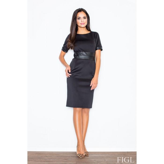 Dámske čierne púzdrové šaty s koženým pásom M204 7c081408401