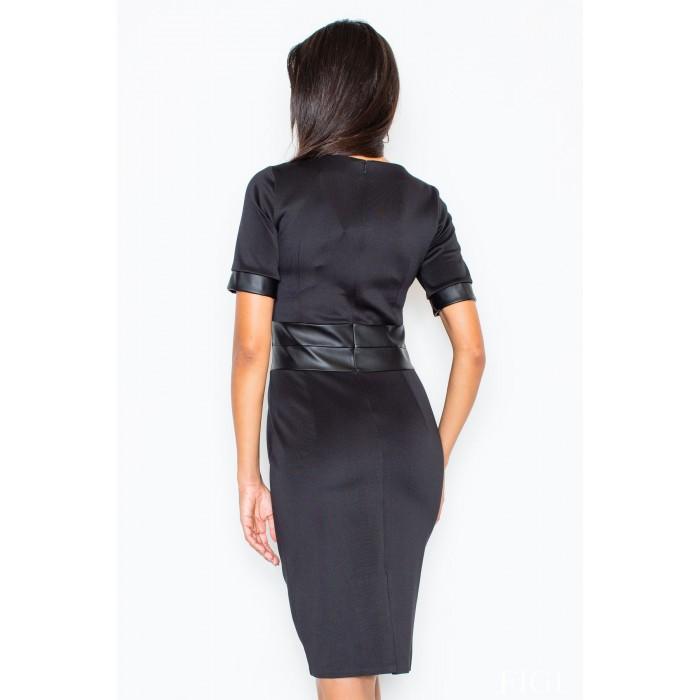 c8befb2cc9ea Dámske čierne púzdrové šaty s koženým pásom M204