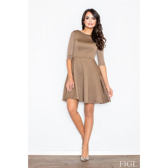 Dámske hnedé RETRO šaty z prešívaného materiálu M235 0364d44ffbe