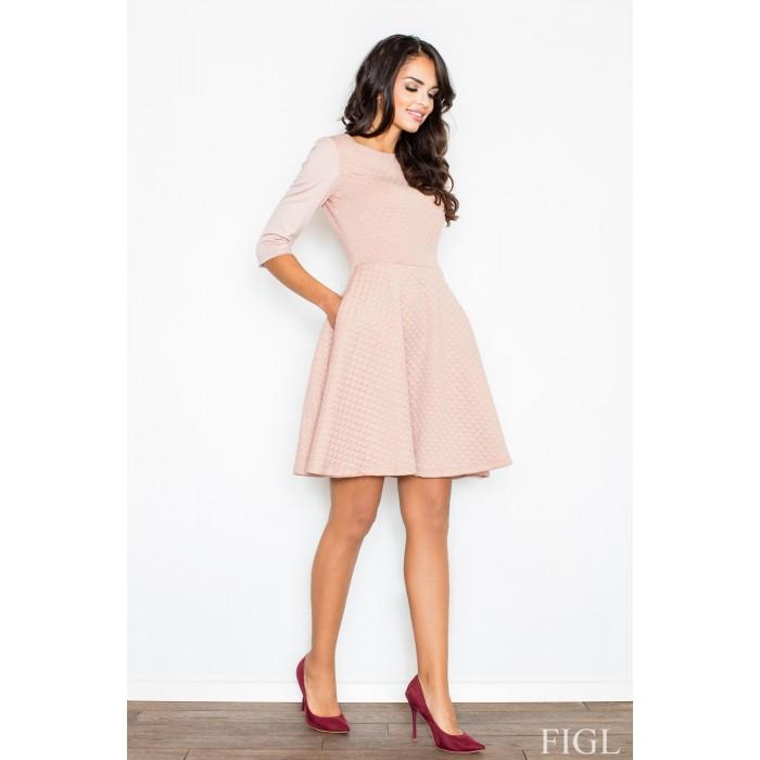 31043c178345 Dámske ružové RETRO šaty z prešívaného materiálu M235