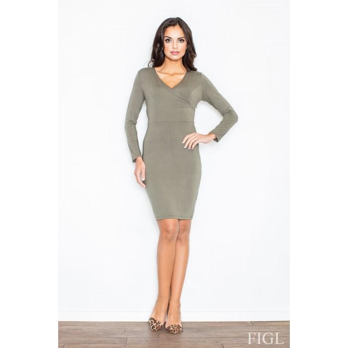 a3e01099a157 Dámske olivové úpletové šaty so zavinovacím efektom M264