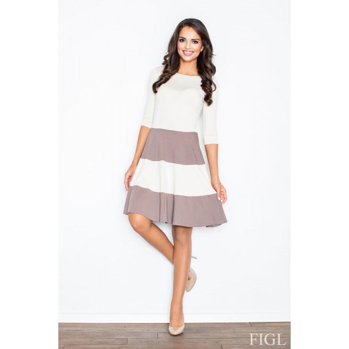 c2db41061 Dámske šaty s rozšírenou sukňou a s hnedými pruhmi M279