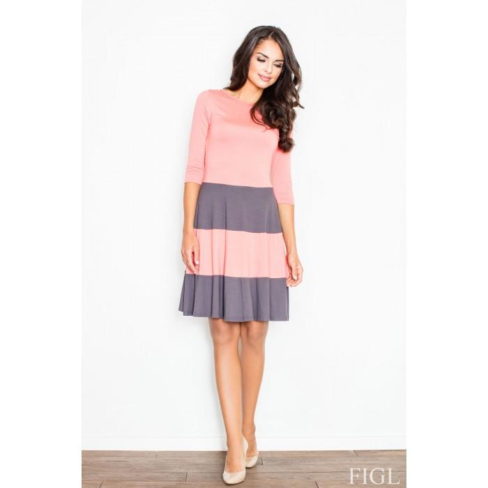 926d46bd2595 Dámske šaty s rozšírenou sukňou a s šedými pruhmi M279