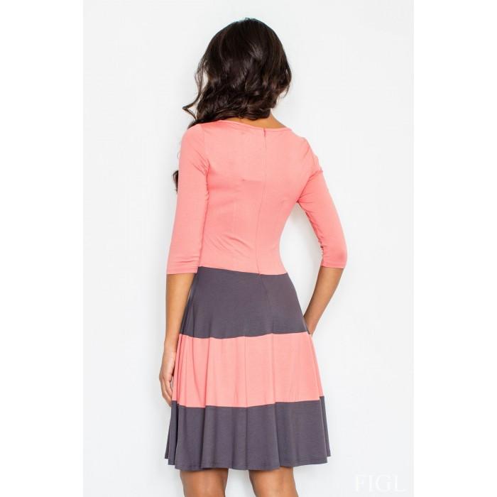7a2091252518 Dámske šaty s rozšírenou sukňou a s šedými pruhmi M279