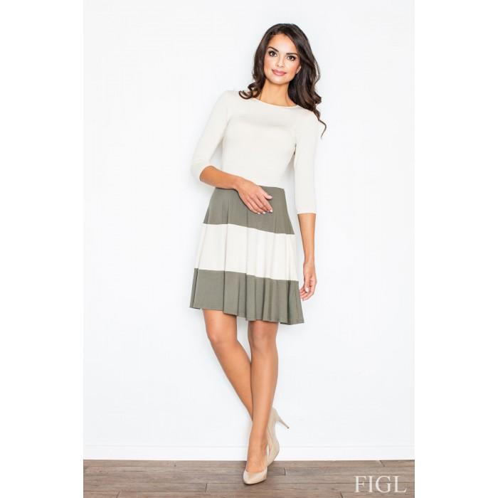 b84f5f147 Dámske šaty s rozšírenou sukňou a s olivovými pruhmi M279