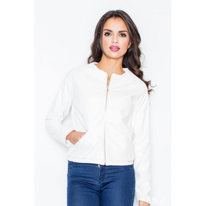 1d33e5709e31 Dámska biela koženková bunda na zips M288