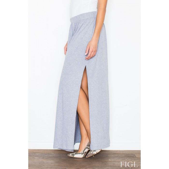 85e182503620 Dámska šedá dlhá úpletová sukňa M310