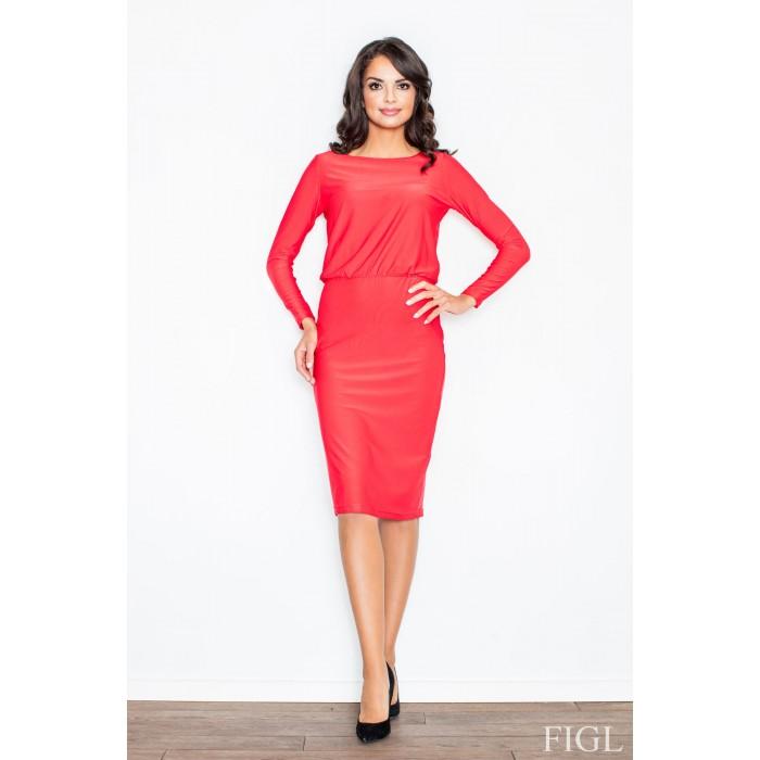 bd779e5dc6e1 Dámske červené štýlové šaty výstirhom M326
