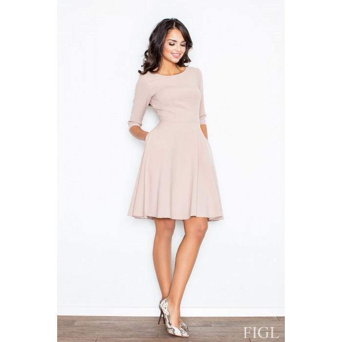 3e0b655147ce Dámske ružové Áčkové šaty s 3 4 rukávmi M327