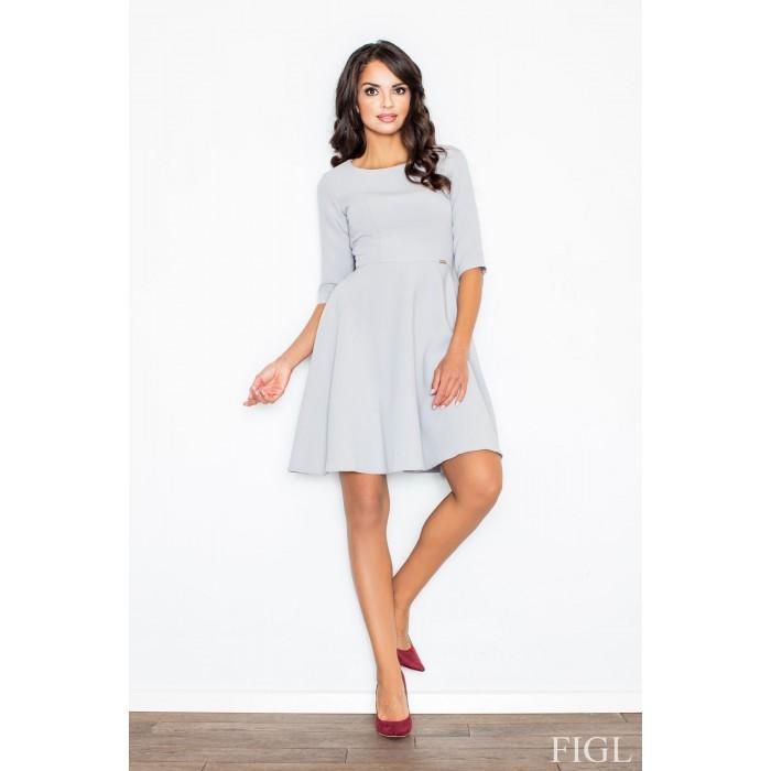449d9cbb2 Dámske šedé Áčkové šaty s 3/4 rukávmi M327