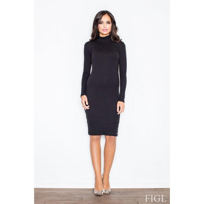 5b0d02ac23fa Dámske čierne úpletové šaty s rolákom M332