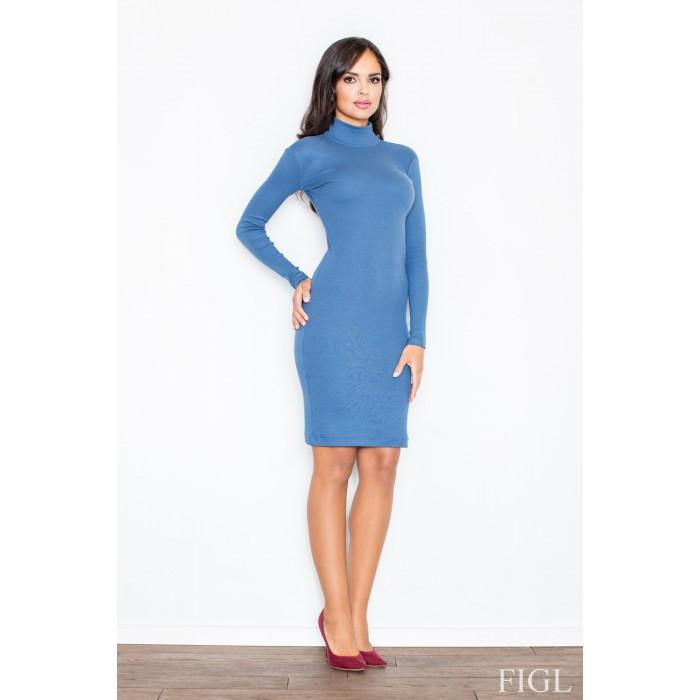 1d843de3fe00 Dámske modré úpletové šaty s rolákom M332