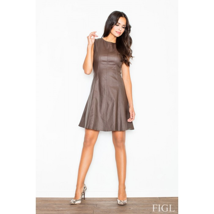 Dámske hnedé áčkové šaty s imitáciou kože M342 1d757fe74ab