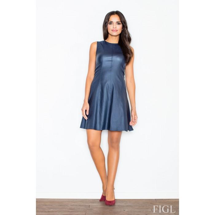 Dámske tmavomodré áčkové šaty s imitáciou kože M342 ef1c85ba2c1