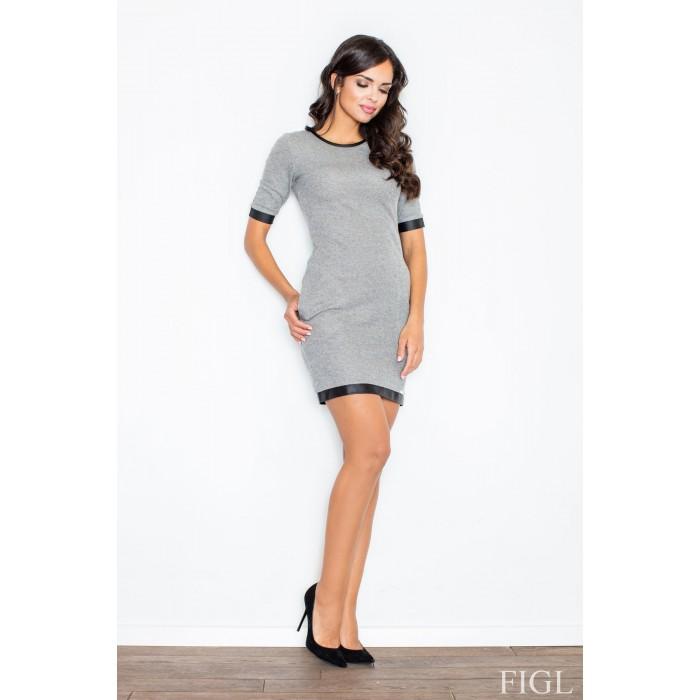 a948ef192028 Dámske šedé úpletové šaty s koženým lemovaním M348