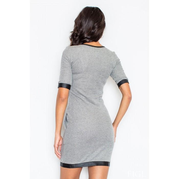 9dcee1596af1b Dámske šedé úpletové šaty s koženým lemovaním M348