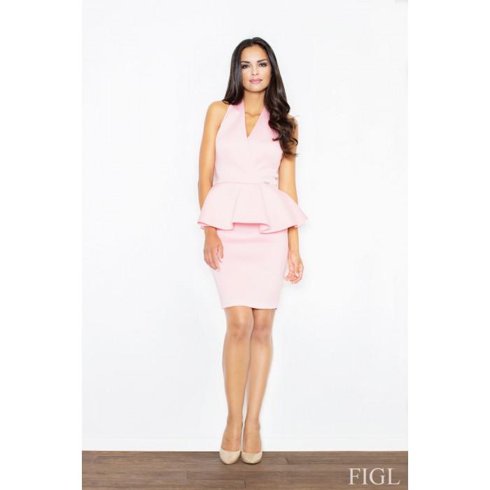 Dámske ružové penové šaty bez rukávov s volánom M368 86b197b2ff0