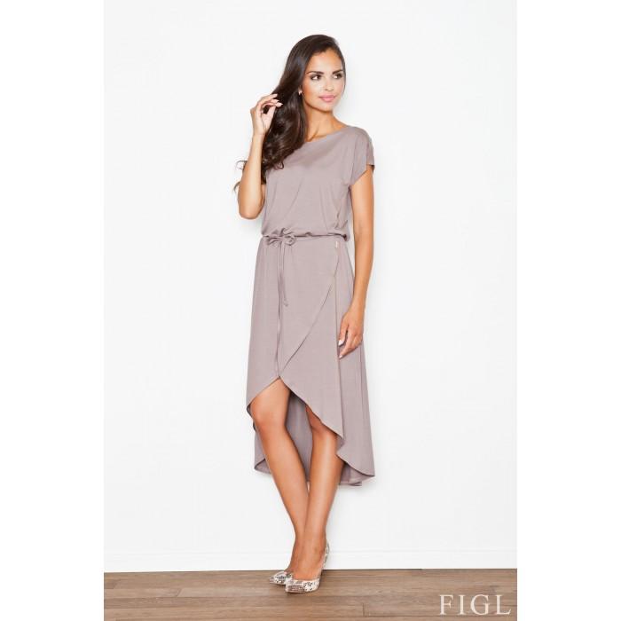 Dámske hnedé asymetrické úpletové šaty s viazaním M394 f82abad7695