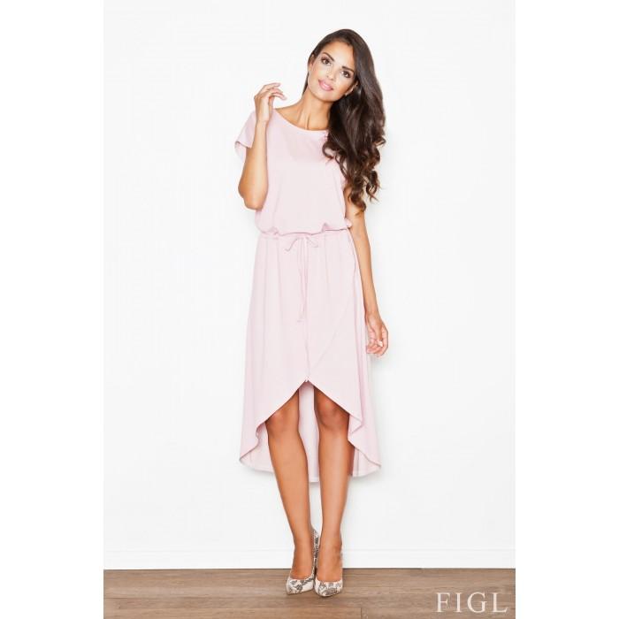99c8a7721ec3 Dámske ružové asymetrické úpletové šaty s viazaním M394