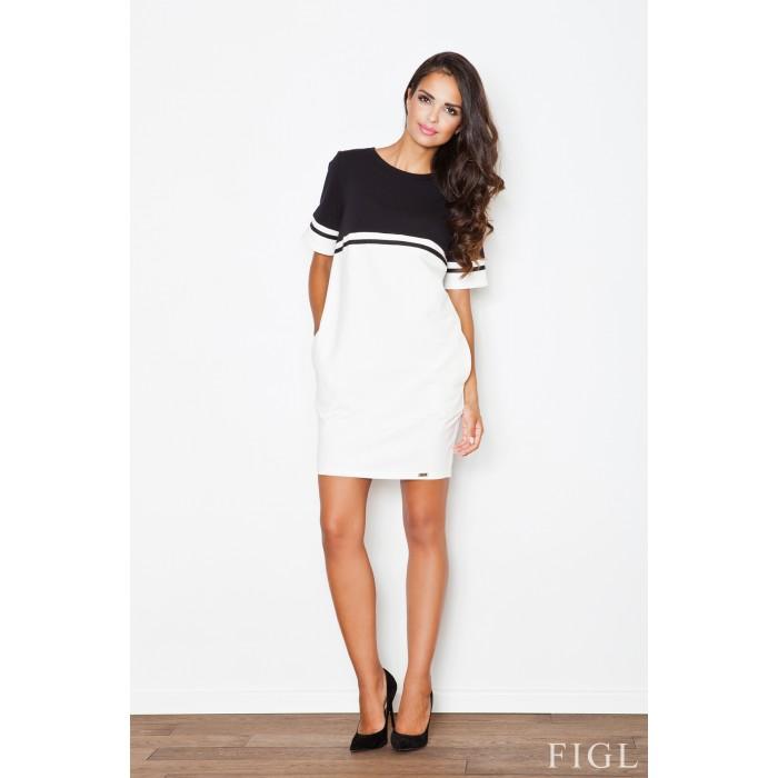 42093bc84d6c Bielo čierne úpletové šaty s krátkym rukávom M400