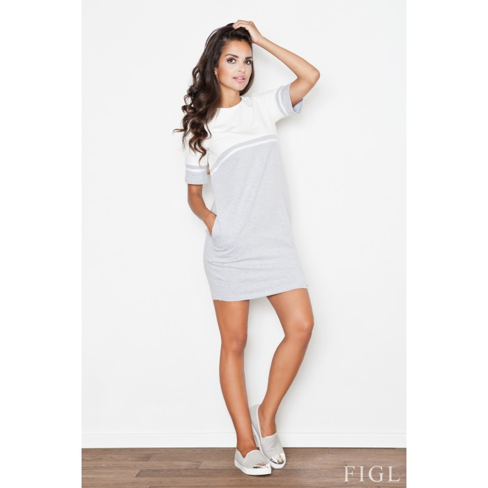 Sivo biele úpletové šaty s krátkym rukávom M400 36977dd5d28