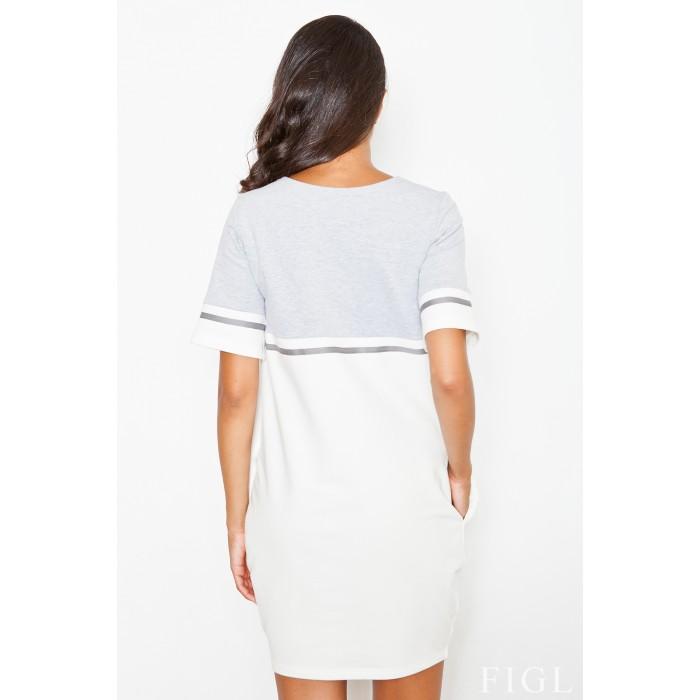 7f4ac7a5fe74 Bielo sivé úpletové šaty s krátkym rukávom M400