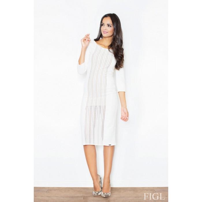 Dámske biele úpletové midi šaty na bežné nosenie M411 01bb6c9a0dc