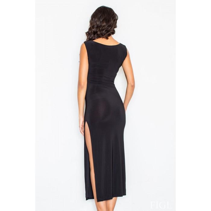 Úzke čierne dlhé elastické šaty s vysokým rázporokom M425 c47d1ef62c1