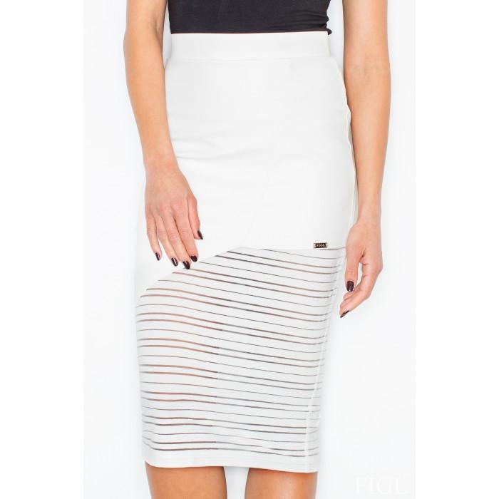 5dbc179daada Dámska biela koženková asymetrická sukňa M428