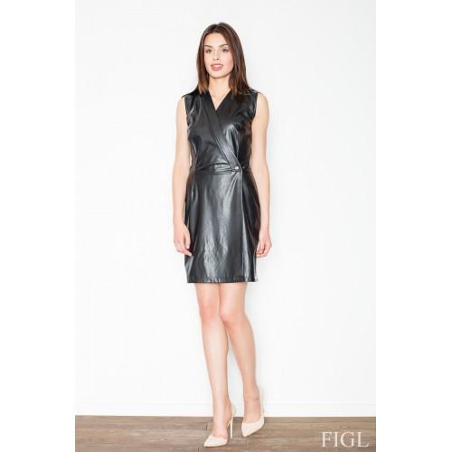 Čierne kožené púzdrové šaty bez rukávov M430