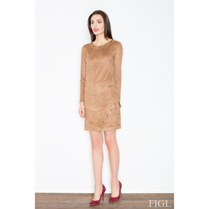 4ecd40480223 Dámske hnedé velúrové šaty M455