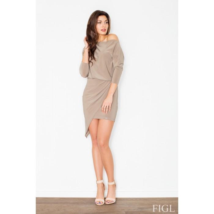 Dámske béžové asymetrické šaty - M475 a0373924733