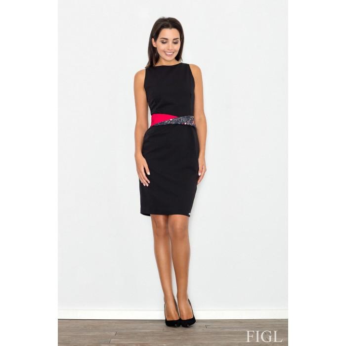 f958e290ecff Čierne púzdrové šaty s opaskom M534