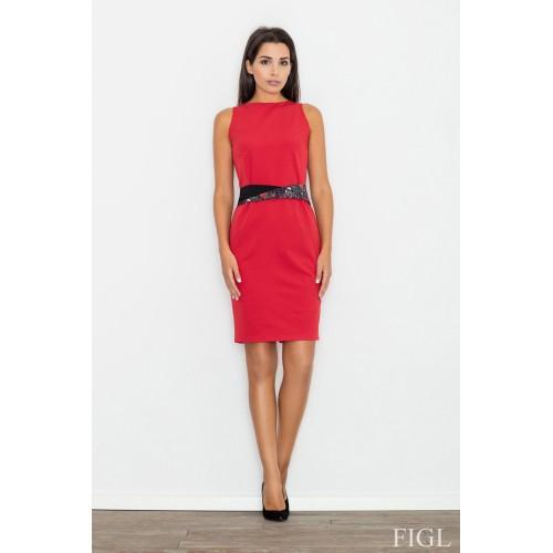 Červené púzdrové šaty s opaskom M534