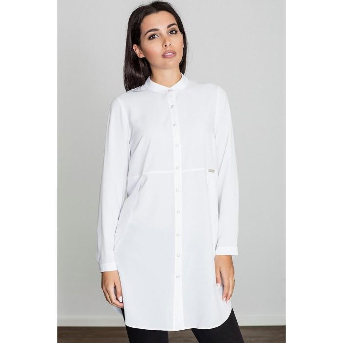 30f6ff491883 Dámska biela predĺžená košeľa so stojačikom M545